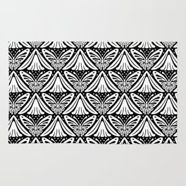 Butterfly and Flower Pattern Black & White 2 Rug
