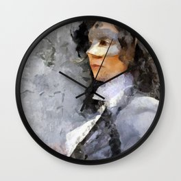 Woman with mask Wall Clock