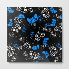 Video Game Blue on Black Metal Print