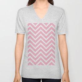 Chevron Stripes : Pink & White Unisex V-Neck