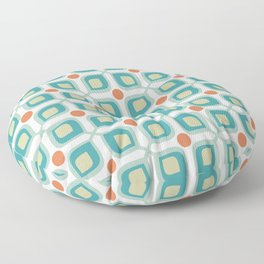 Abstract Flower Pattern Mid Century Modern Retro Turquoise Orange Floor Pillow