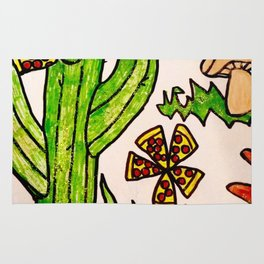 Cactus in a pizza paradise Rug