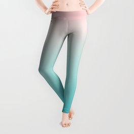 Pastel Ombre Millennial Pink Blue Teal Gradient Pattern Leggings