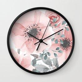 Abstract Watercolor, Floral, Coral and Gray, Watercolor Print Wall Clock