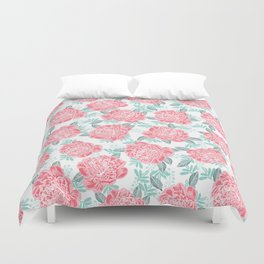 Peony flowers white pink and green trendy girly floral bouquet painted flowers botanical pattern Duvet Cover