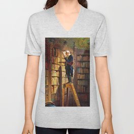 The Bookworm - Carl Spitzweg Unisex V-Neck