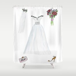 For The Bride To Be Watercolor and Ink Shower Curtain
