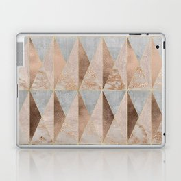Copper Foil and Blush Rose Gold Marble Triangles Argyle Laptop & iPad Skin