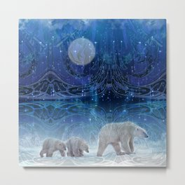 Arctic Journey of Polar Bears Metal Print