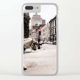 Photograph of Beautiful Street in Old Port Montreal, with a Horse Walking into Sight Clear iPhone Case