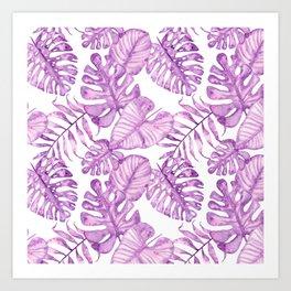Purple violet pink watercolor tropical monster leaves Art Print