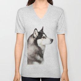 Husky Dog Portrait 2 Unisex V-Neck
