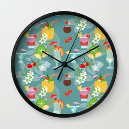 Blue Hawaii Cocktail Hour Wall Clock