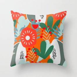 Cacti, fruits and flowers Throw Pillow