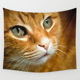 Adorable Ginger Tabby Cat Posing Wall Tapestry