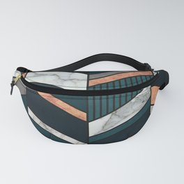 Abstract Chevron Pattern - Copper, Marble, and Blue Concrete Fanny Pack