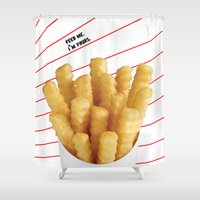 french fries Shower Curtains featuring Feed Me Fries by Love Lunch Liftoff