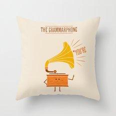 Grammarphone Throw Pillow