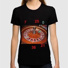Wooden Roulette wheel casino gaming T-shirt