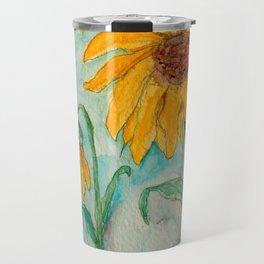 Watercolor Sunflowers Travel Mug
