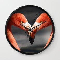Flamingo Love Couple Wall Clock