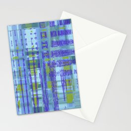 Purple, yellow, green, teal shapes combine together create messed up art Stationery Cards