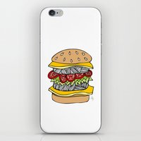 burger iPhone & iPod Skins featuring Burger by Amber Lily Fryer