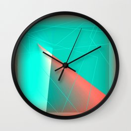Broken Glass Pieces Abstract, Red and Aqua Wall Clock
