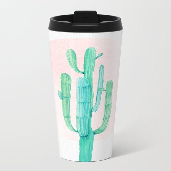 Desert Cactus Green with Rose Gold Sun Metal Travel Mug