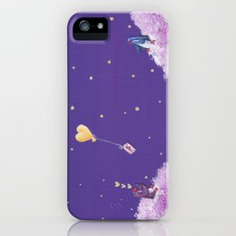 Penguin Sends Love Letter with Heart Balloon to Friend Across Starry Sky iPhone Case