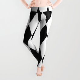 LARGE  WHITE AND BLACK   HARLEQUIN DIAMOND PATTERN Leggings