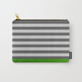 Green Black White Stripes Carry-All Pouch