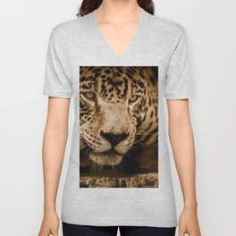 Magnificent Adorable Fearsome Adult Leopard Face Close Up Ultra HD Unisex V-Neck