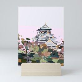Geometric Osaka castle, Japan Mini Art Print