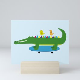 Crocodile and skateboard Mini Art Print