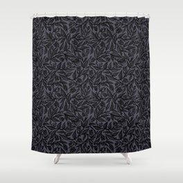 Flourish by Sean Martorana - Black on Purple Shower Curtain