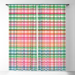 Preppy 1980s Plaid in Pink and Green Blackout Curtain