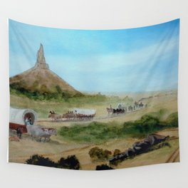 Passing Chimney Rock on the Dusty Oregon Trail Wall Tapestry