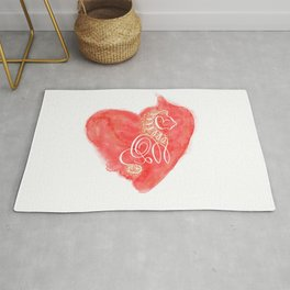 White silhouette of a lion on red heart Rug