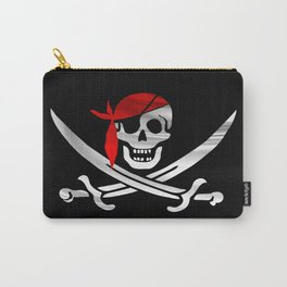 Jolly Roger pirate waving flag with skull and swords with red bandana on a silk drape  Carry-All Pouch