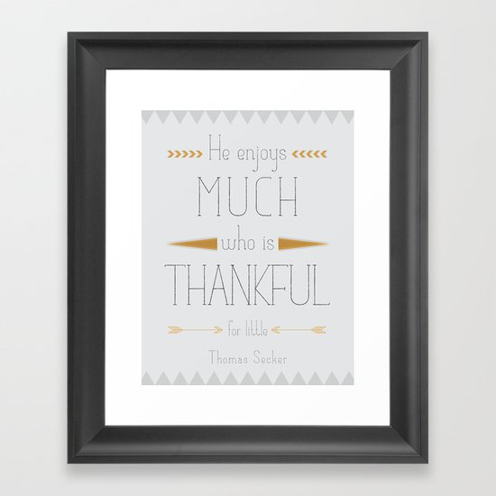 Thankful - Thomas Secker Quote Framed Art Print