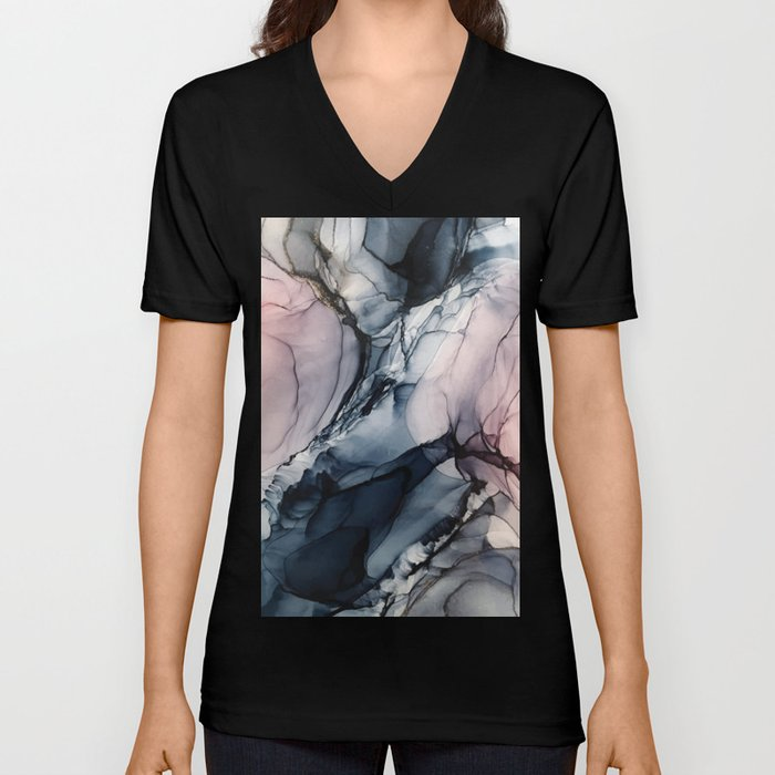 Blush, Navy and Gray Abstract Calm Clouds Unisex V-Neck