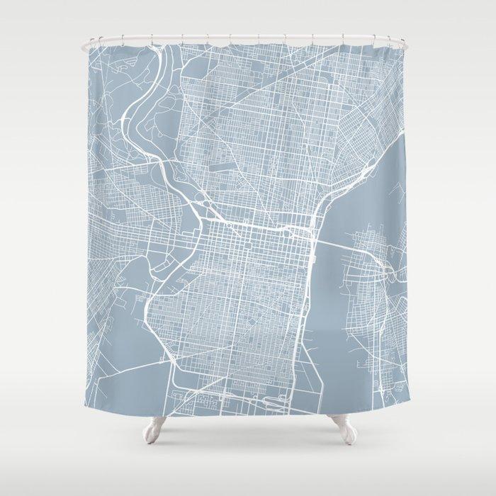 Philadelphia Map Usa Slate Shower Curtain By Mainstreetmapscolor Society6