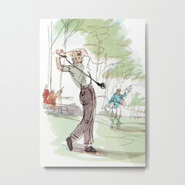 Are You Looking At My Putt? Vintage Golf Metal Print