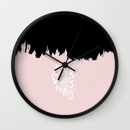 Modern abstract black blush pink brushstrokes typography Wall Clock