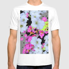 Modern White Petunias Pink Flowers Black & Grey MEDIUM White Mens Fitted Tee