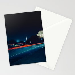 Iconic Washington D.C. Memorials At Night Stationery Cards