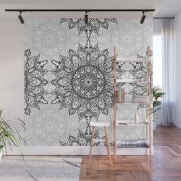 Black and White Mandala Wall Mural