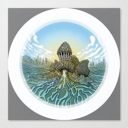 Morel Mushroom Disc Golf basket Canvas Print