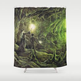 Harry and Dumbledore in the Horcrux Cave Shower Curtain